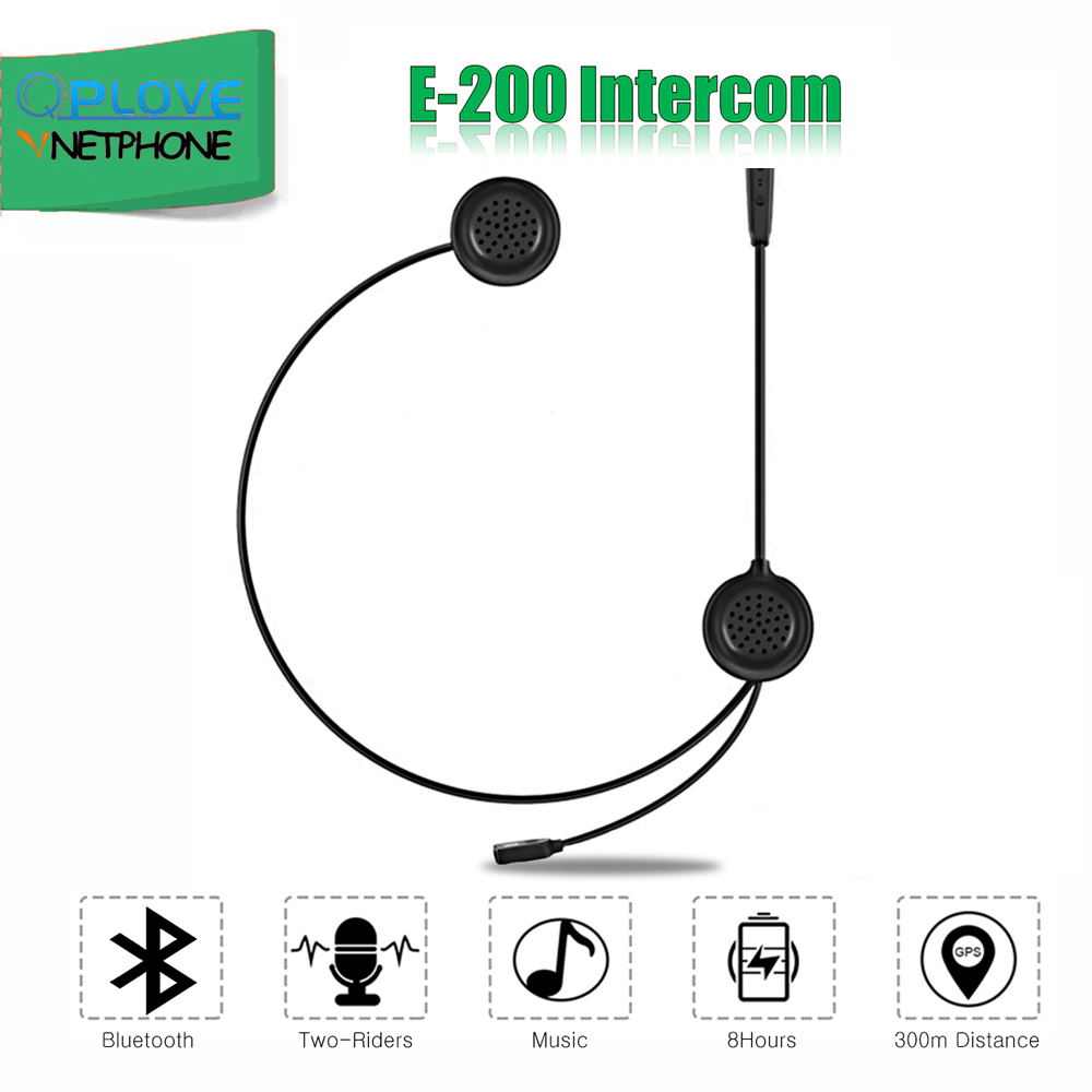 QPLOVE EJEAS E200 Bluetooth Motorcycle Intercom 2 Riders Wireless Connection Microphone Small Size Light Weight Convenient