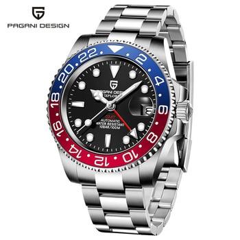 2020 New PAGANI DESIGN Luxury Men GMT Automatic Machinery Watch 40MM Ceramic bezel Jubilee Strap Sapphire 100M Waterproof Clock - Blue red 2