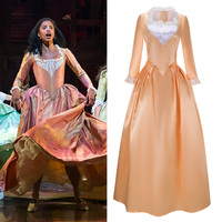 Free Shipping Musical Rock Opera Hamilton Hamilton Satin Stage Dress Concert Angelica Cosplay Costume Women Champagne Gown Fancy