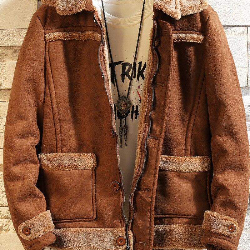 Меховая цельная куртка мужская теплая Модная контрастная Повседневная куртка с меховым воротником Мужская Уличная свободная Хлопковая му... - 3