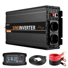 LCD invertör 12V 220V 1000/2000W gerilim trafosu saf sinüs dalga güç inverteri DC12V AC 220V dönüştürücü