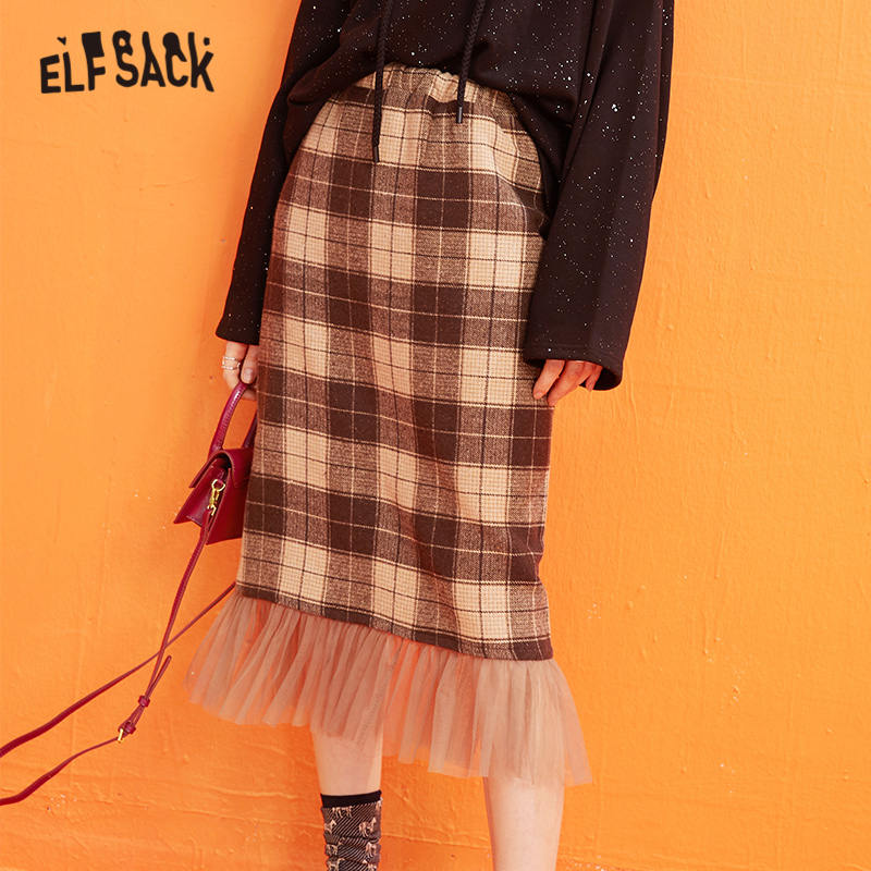 ELFSACK Plaid Mesh Contrast Women Long Skirts 2019 Winter New British Mid Waist Straight Office Ladies Daily Skirt