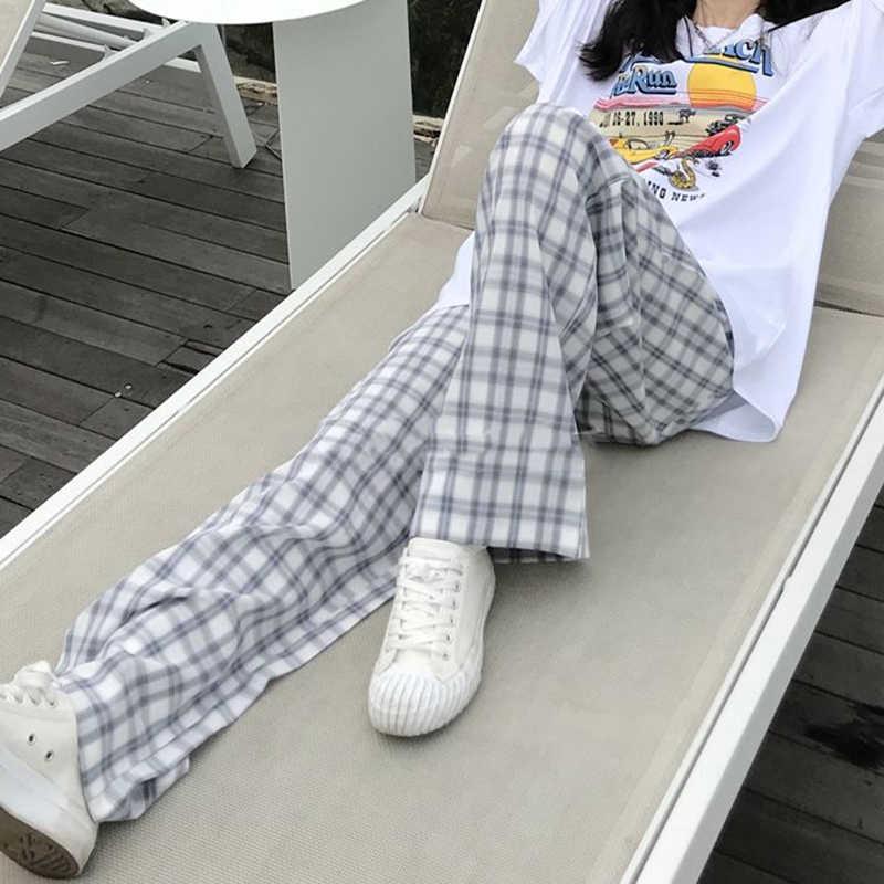 Pantalons femmes Plaid élasticité rétro Style japonais Streetwear étudiants mince poches ample populaire Feminino droit Pantalon Chic