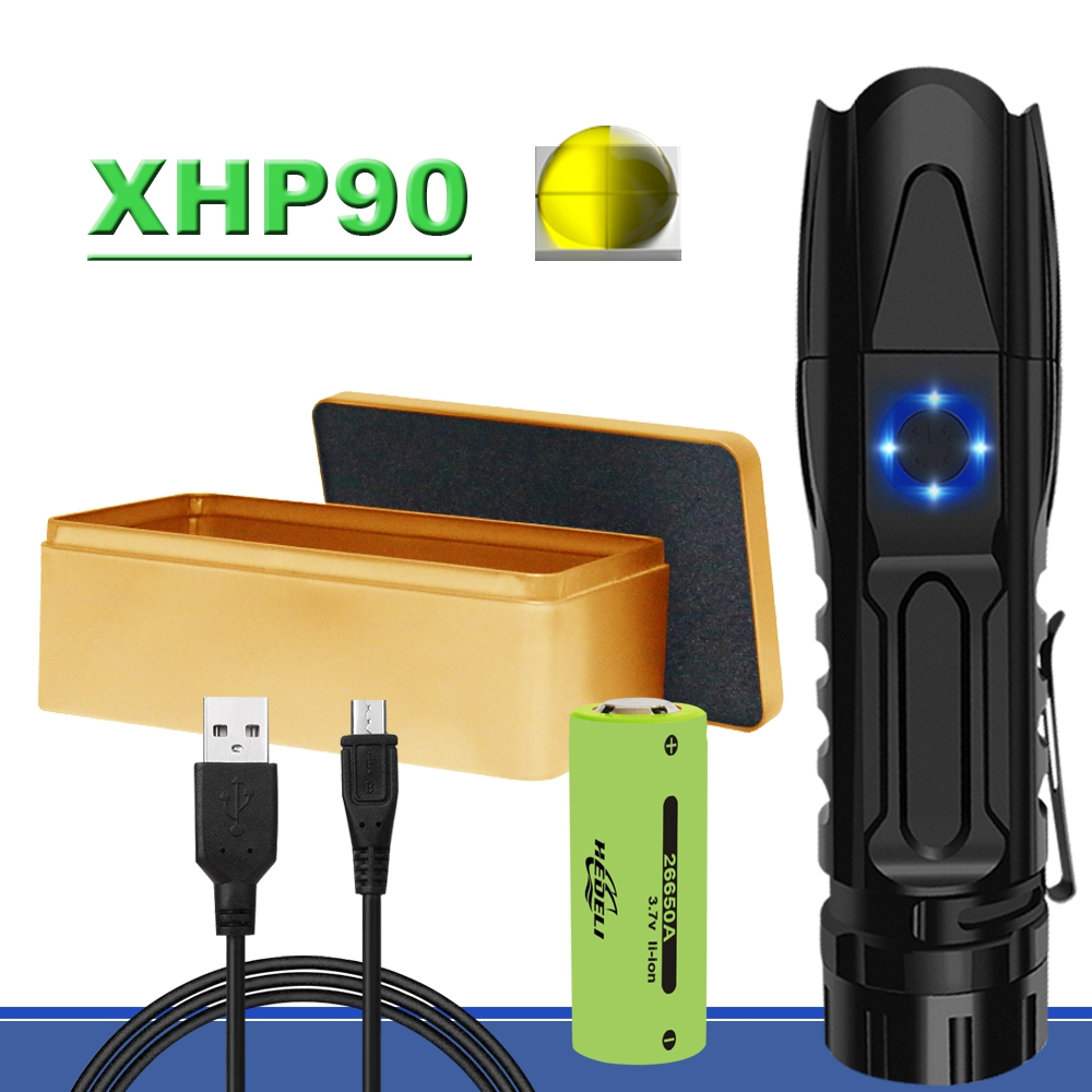 New pattern xhp90 most powerful flashlight rechargeable led  tactical flash light hunting usb torch xhp70 xhp50 26650 or 18650