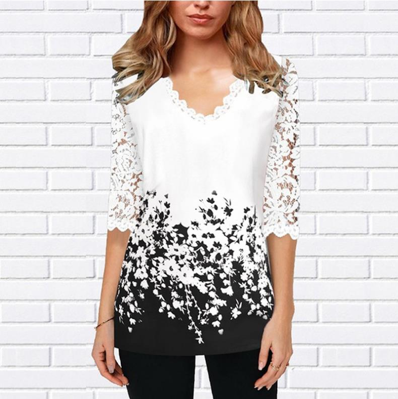 Plus Size 4xl 5XL Shirt Blouse Female 2020 Spring New Tops V-neck  Half Sleeve Lace Splice Print Boho Women Shirt
