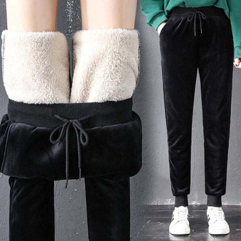 Winter Women Pants Gold Velvet Sweatpants Plus Size Casual Trousers Thick Lambskin Cashmere Pants High Waist Warm Harem Pants