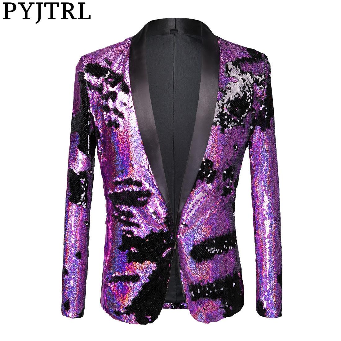 PYJTRL Full Sequins Series Men Double-Color Purple Black Sequins Blazer Fashion Nightclub Bar DJ Singers Suit Jacket Costumes