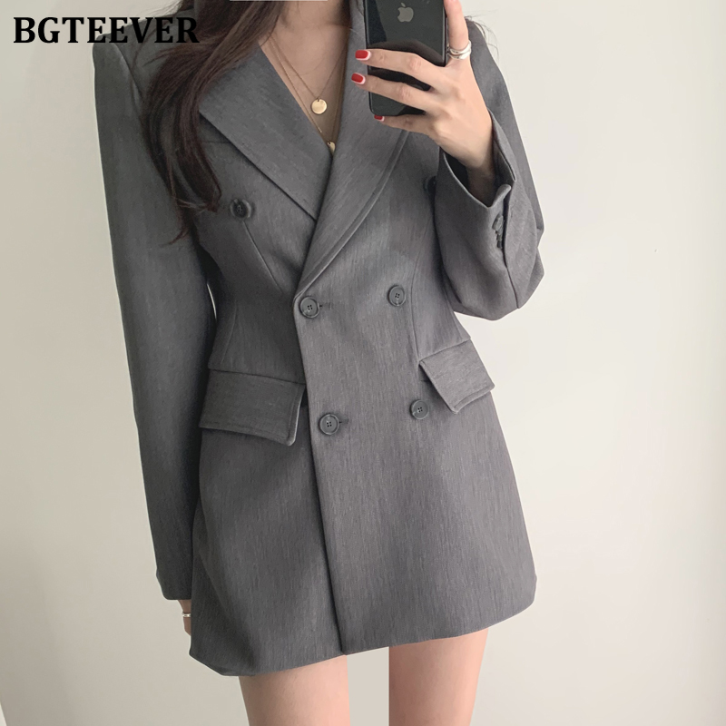 BGTEEVER Double-breasted Long Sleeve Female Suit Jackets Gray Notched Collar OL Blazers Women Office Ladies Suit Blazer 2020