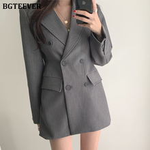 BGTEEVER Double-breasted Long Sleeve Female Suit Jackets Gray Notched Collar OL