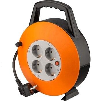 Alargadera electrica 4 tomas schuko 15 M Naranja