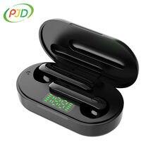 PJD TWS słuchawki Bluetooth V5.0 bezprzewodowe słuchawki douszne z mikrofonem sportowe wodoodporne słuchawki Hifi etui z funkcją ładowania dla iOS Android
