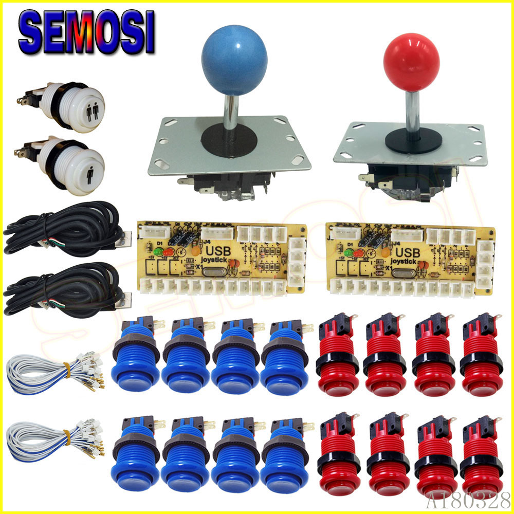 American Style Arcade Button Joystick DIY  Kit for Arcade Machine,2 Player Stick for Pandora Box Fighting Games Machine