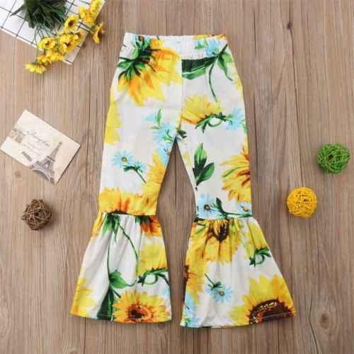 Bebek Çocuk Bebek Kız Ayçiçeği Gevşek Tayt Uzun Bacak Pantolon Çan Dipleri Yaz Tatil Plaj Geniş Bacaklı Parlama Uzun pantolon