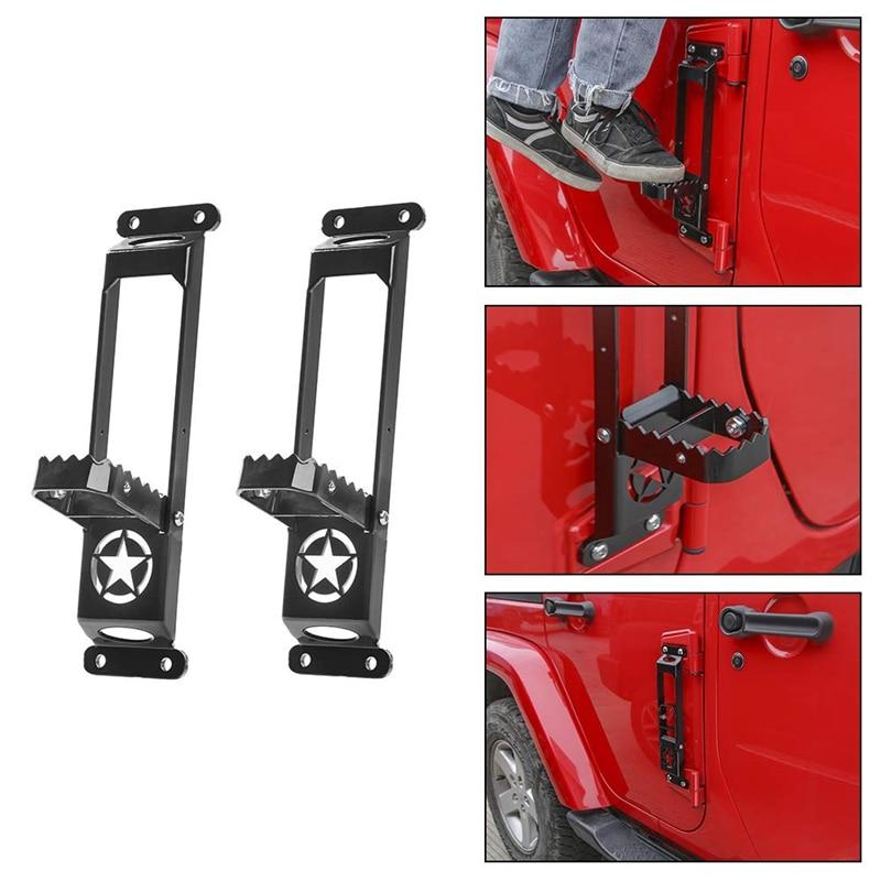 Car Folding Door Hinge Step Foot Peg Metal Folding Foot Pedal, Easy Access to Car Rooftop for 2007 2018 Jeep Wrangler JK JKU JL