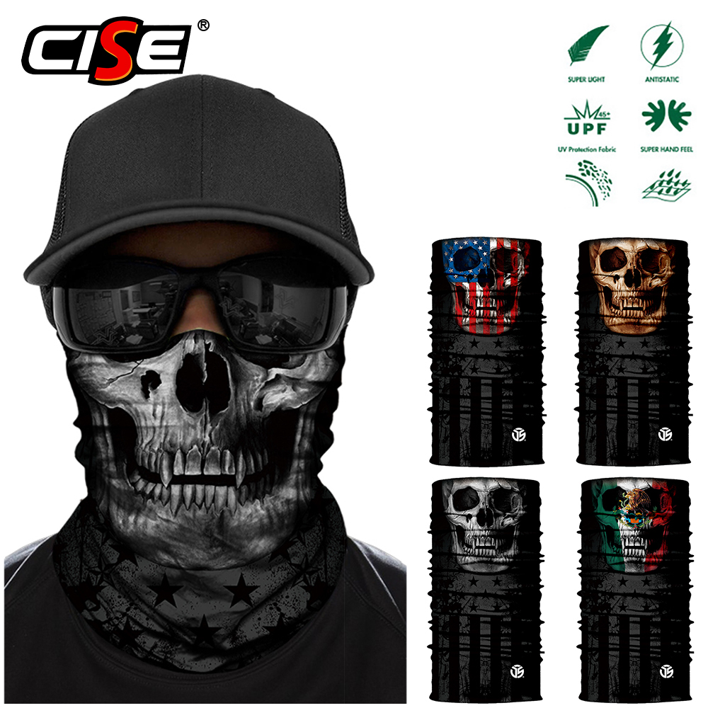 3D Skull Ghost Motorcycle Face Mask Neck Gaiter Motorbike Skeleton Tube Scarf Bandana Moto Biker Head Shield Balaclava Sun Masks