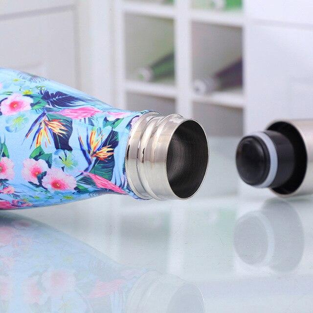 Bouteille d'eau florale sans BPA en acier inoxydable 5