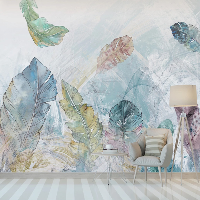 Photo Wallpapers European Watercolor Abstract Line Art Leaves Large Mural Living Room Sofa Home Decor Wall Covering Wall Paper