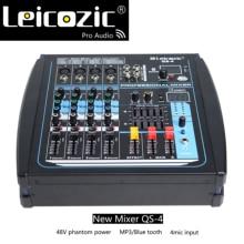 Leicozic QS4 Power mixer 250w x2 bluetooth mixing console 4 CH Amplifier Mixer 48V phantom power sound mixer console audio mixer