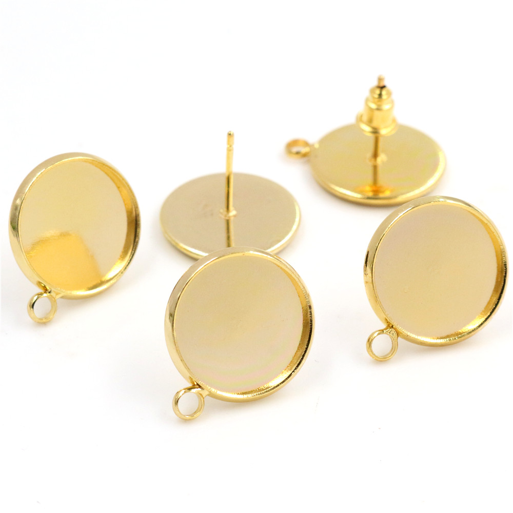 16mm 10pcs/Lot Gold Colors Plated Earring Studs,Earrings Blank/Base,Fit 16mm Glass Cabochons,earring Setting-T1-09