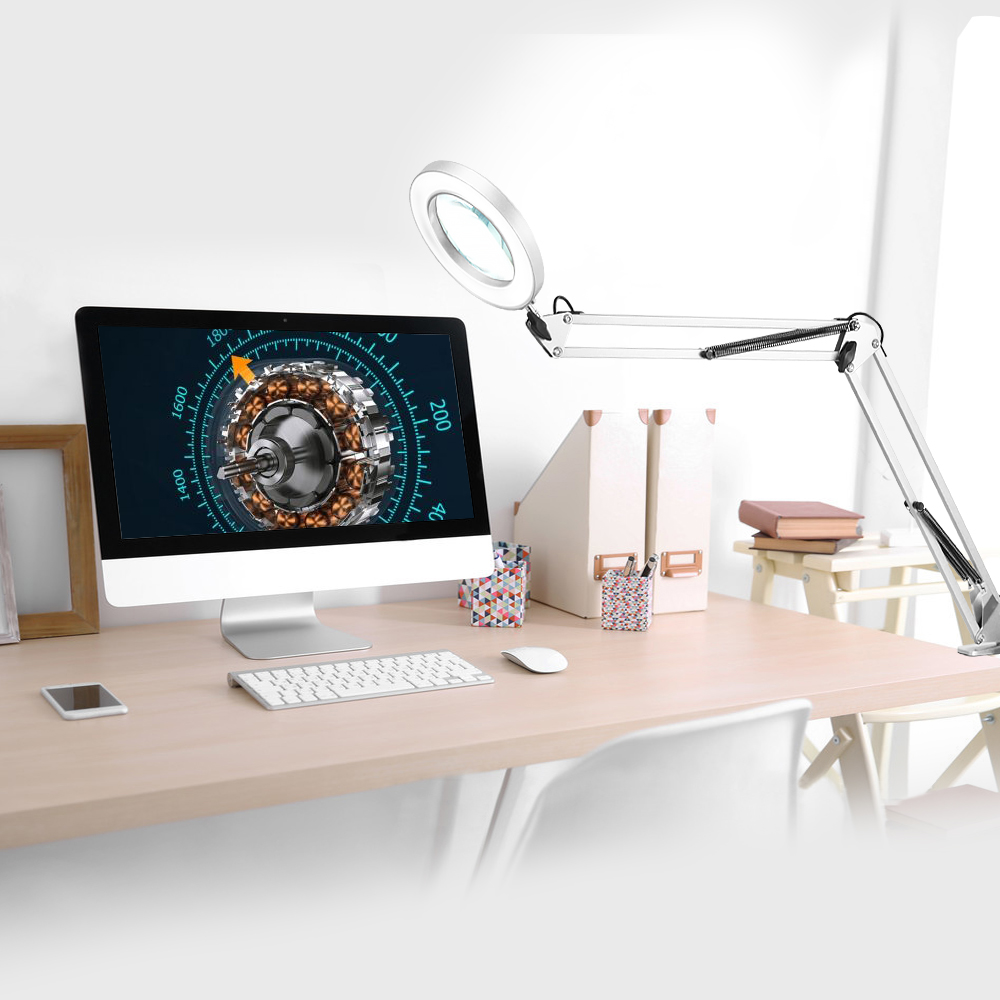 Tools : NEWACALOX Flexible Desk Large 5X USB LED Magnifying Glass 3 Color Illuminated Magnifier Lamp Loupe Reading Rework Soldering Nail