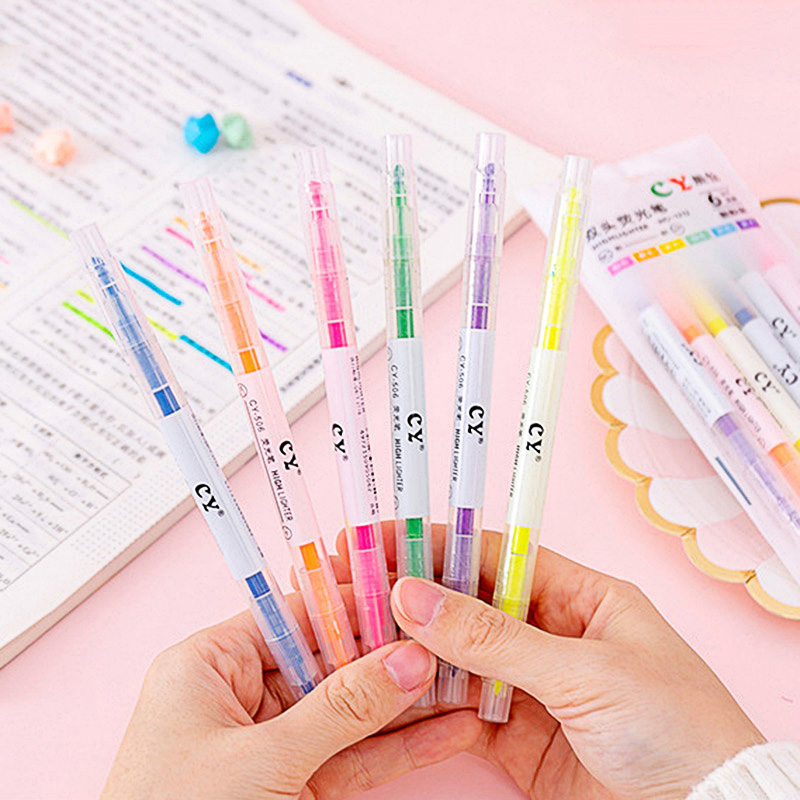 6Pcs Pastel Liquid Chalk Marker Pen Double-end Erasable Highlighter Double Head Highlighters For Kids School Office Supplies