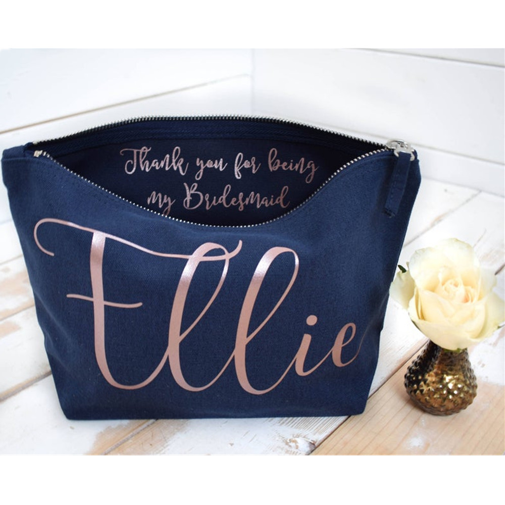 Personalised Thank You Gift - Bridesmaid Gift Make Up Bag - Wedding Makeup Bags Maid Of Honour Unique Gift For Bridal Party