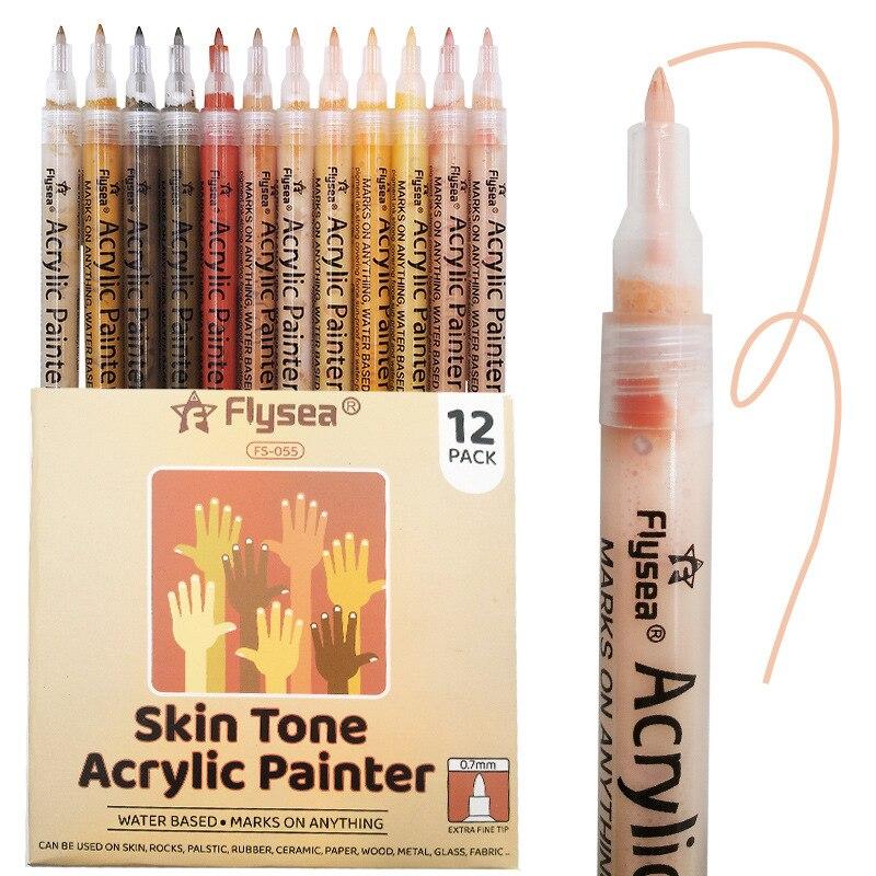 Новый акриловый маркер, цвет кожи, ручка на водной основе, краска для тела, граффити, Керамический Маркер 12 цветов, маркеры для творчества, ру...