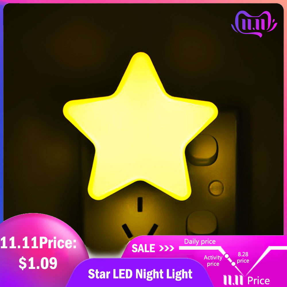 4Color Mini Star LED Night Light With EU/US Plug for Dark Night Baby Sleeping Light Bedside Lamps LED Sensor Control Night Light-in LED Night Lights from Lights & Lighting