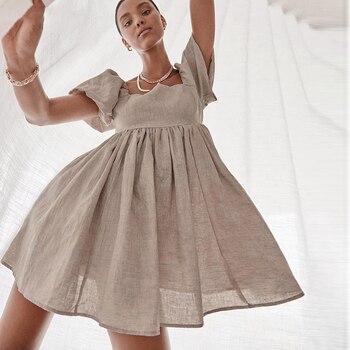 MOARCHO Dresses Women Square Neck Puff Sleeve Mini Dress Pure Color Simple Temperament Fashion  Leisure Cotton and Linen 2021 1