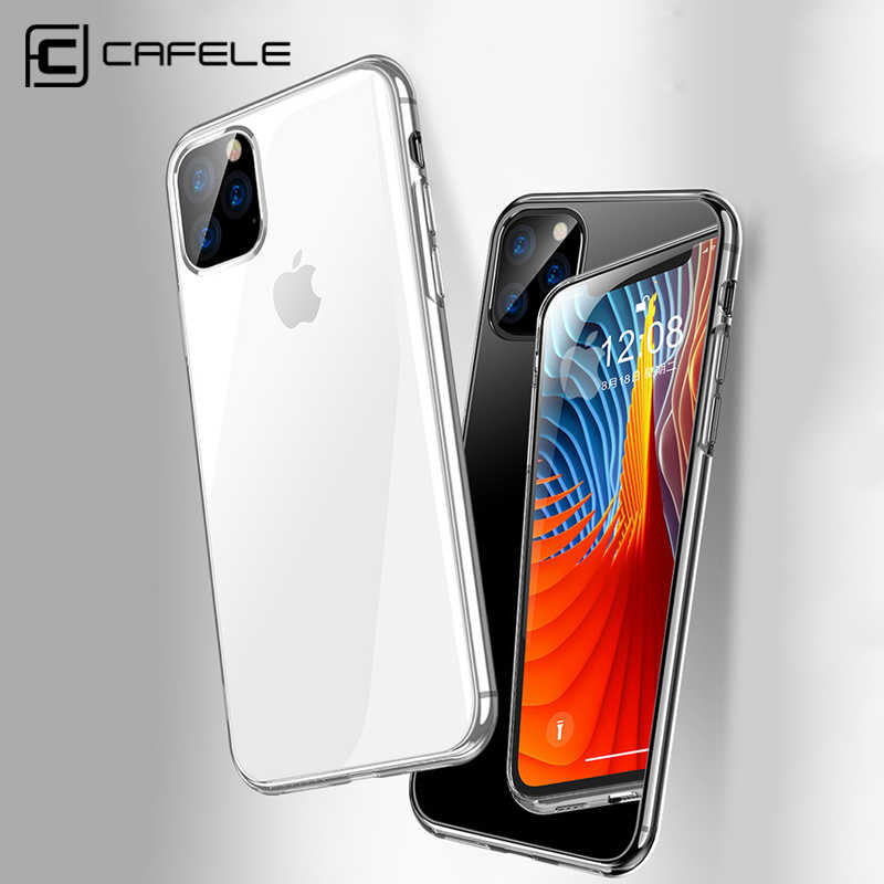 CAFELE Mobile Phone Case for iPhone 11 Pro MAX Cover Ultra Thin Transparent TPU Edge Tempered Glass Back Cover for iPhone 11