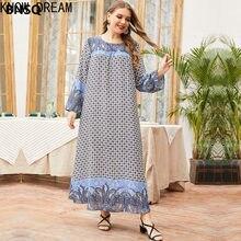 Saiba sonho muçulmano vestido plus tamanho feminino impresso primavera outono em torno do pescoço simples solta saia longa