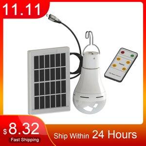 Image 1 - LED 태양 원격 제어 빛 태양 전구 램프 실내 방수 패널 비상 플라스틱 전구 후크 텐트 랜턴 야외