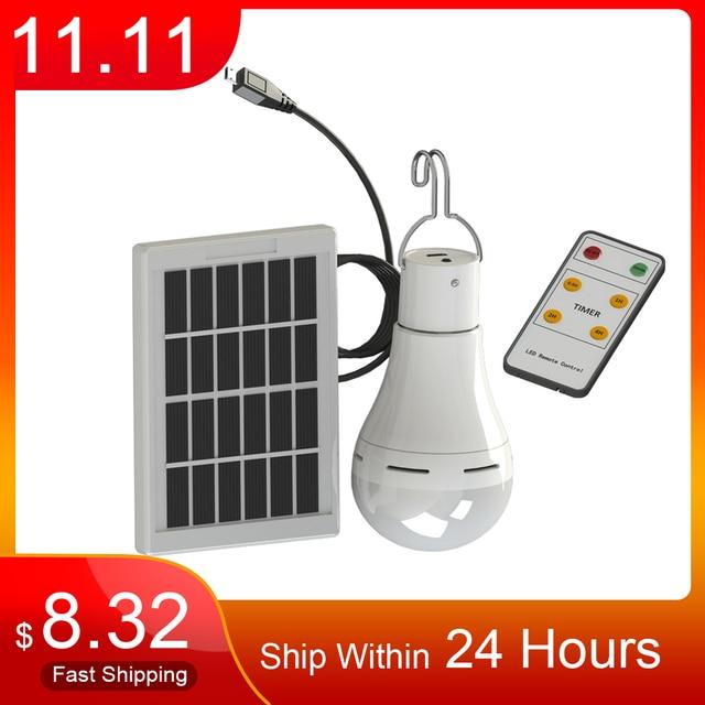 LED 태양 원격 제어 빛 태양 전구 램프 실내 방수 패널 비상 플라스틱 전구 후크 텐트 랜턴 야외