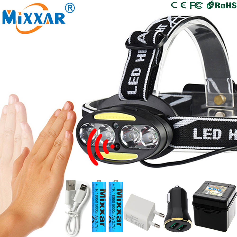 ZK20 Inductive Body Motion IR Sensor LED Head Lamp Light 4* T6+ 2*COB Dropshipping Headlamp Lantern Headlight+2x18650 Battery