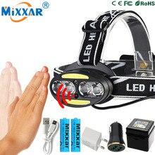 ZK20 Inductive Body Motion IR Sensor LED Head Lamp Light 4* T6+ 2*COB Dropshipping Headlamp lantern Headlight+2x18650 battery