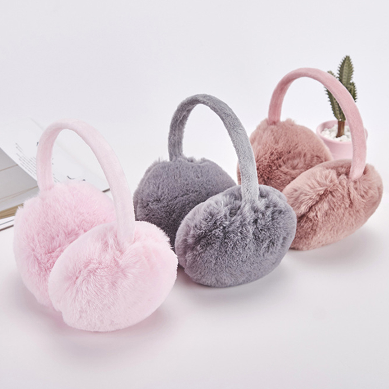 Faux Rabbit Fur Earmuffs Winter Warm Soft Plush Ear Cover  Protable Adjustable Solid Color Earmuffs Casual Unisex Hot Sale
