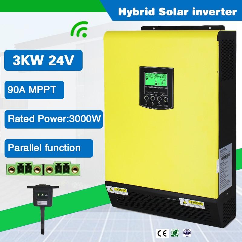 3000w 24vdc em e fora da grade hibrido onda senoidal pura inversor solar com 90a 5500w