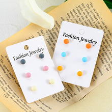 Summer Fresh Candy Color Combination Korea Wild Cute Simple Ladies Earrings Small Fashion Jewelry
