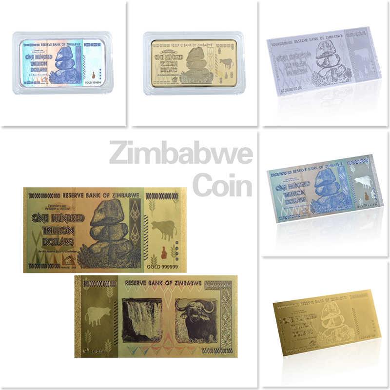 Trilhão Zimbabwe $ Z100/100 Quintrillion/5 Octillion/100 Decillion Dólar Réplica Da Folha de Ouro Banknote Paper Money presente Do negócio