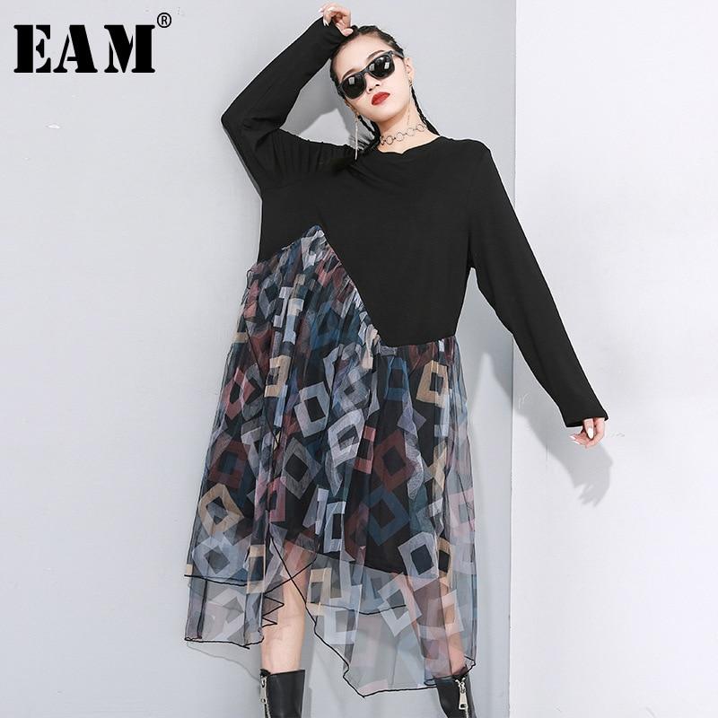 [EAM] Women Black Asymmetrical Mesh Split Joint Dress New Round Neck Long Sleeve Loose Fit Fashion Tide Spring Autumn 2020 1N481