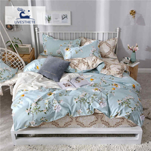 Liv-Esthete Wholesale Fashion Flower Bedding Set Printed Soft Duvet Cover Pillowcase Blue Bed Linen Flat Sheet Or Fitted