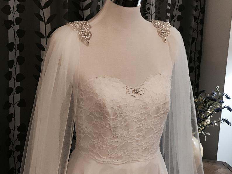 COVER ARM Wedding Cape__(One Pair)__w/Rhinestone Applique On Shoulders__60