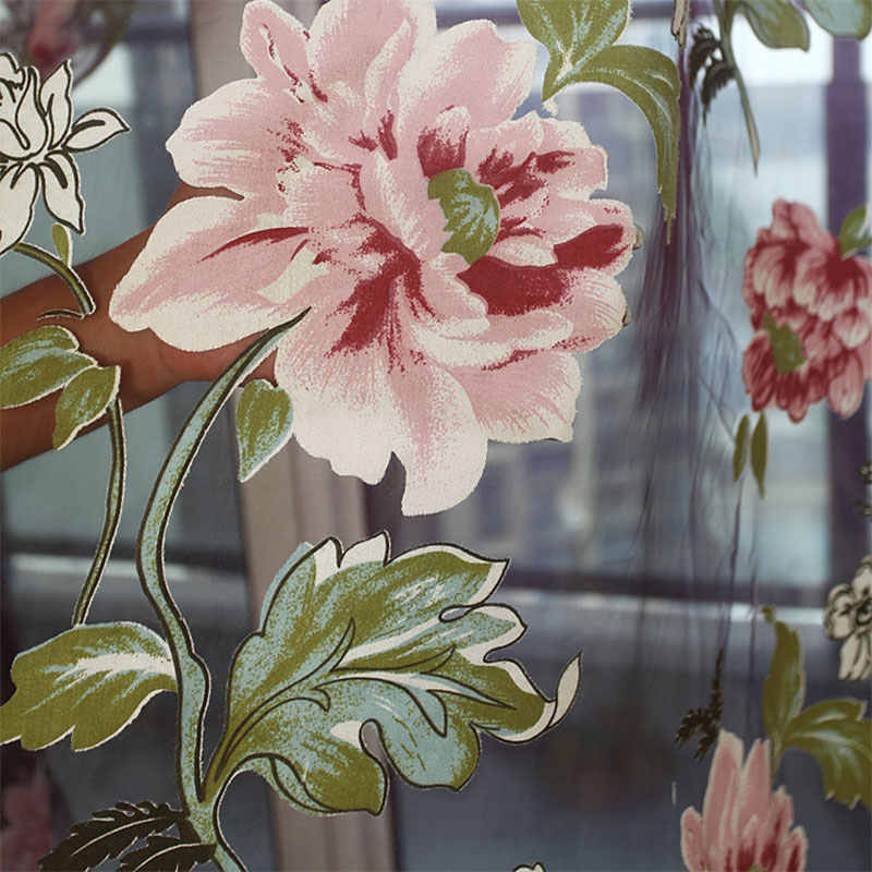 Floreale Viola Tulle Tende Della Finestra per Soggiorno Camera Da Letto Complementi Arredo Per Le Finestre Voile Tende Trasparenti Per La cucina Tende Pannello