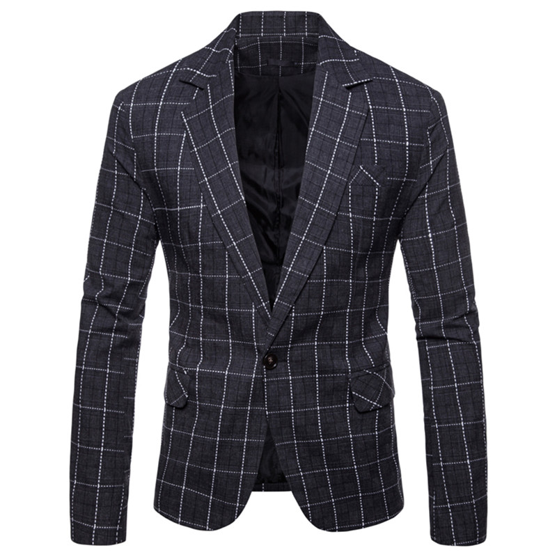 New Fashion Male Blazers Slim Fit Plaid Formal Blazer Men Casual Single Button Blazers