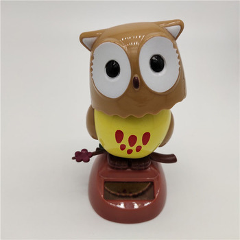 1Pcs Solar Powered Cute Owl Birds Shaking Head Car Ornament Solar Toys Classic Swing Doll Auto Dashboard Accessories Toys 4