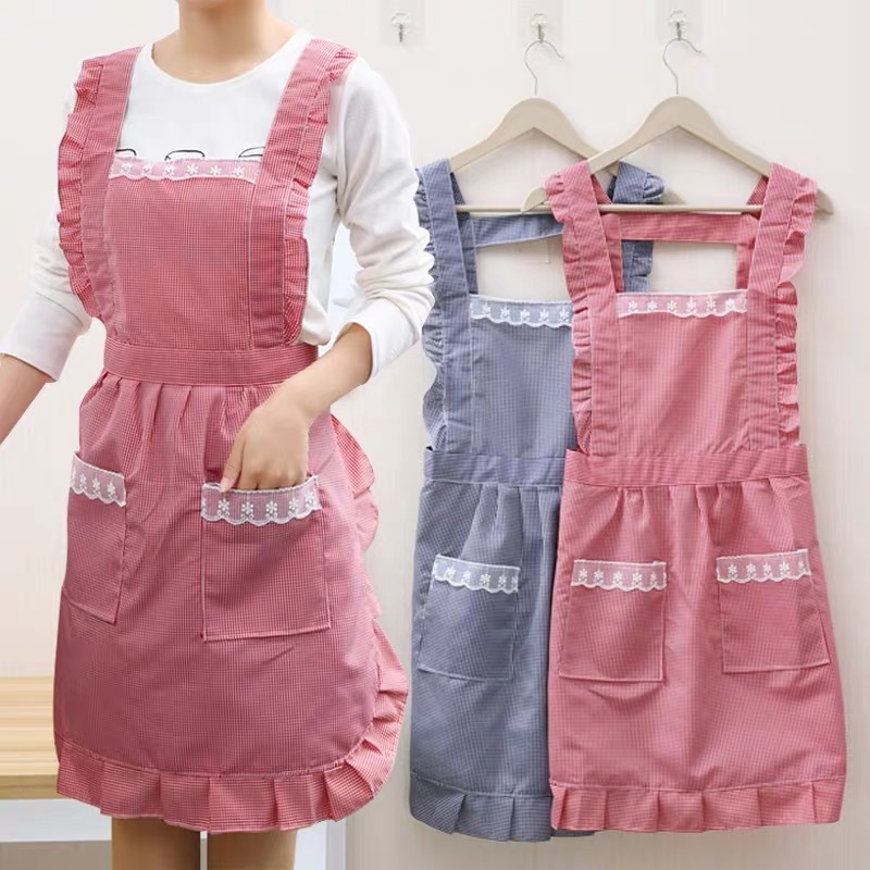 2020NEW Cute Korea Style Waterproof Grease Proofing Apron Uniform For Girl Women Lolita Style In Kitchen Nanny Clothes Pink
