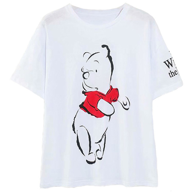 H65cf3470f2734769b7928b17ad24d4fe2 Disney Family T-Shirt Fashion Winnie the Pooh Mickey Mouse Stitch Fairy Dumbo SIMBA Cartoon Print Women T-Shirt Cotton Tee s