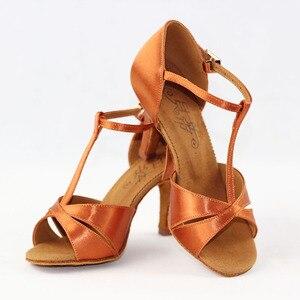Image 4 - Hot Sale Women Latin BD Dance Shoe 2358 Satin Sandal Ladies Latin Dancing Shoes High Heel Soft Sole T bar Indoor