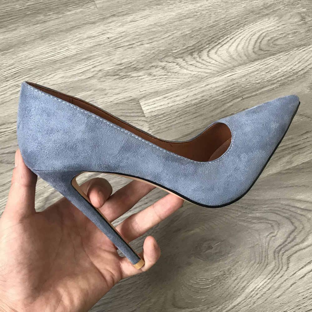 12cm topuk bayan pompaları süet süper yüksek topuklu fetiş moda kadın sivri burun başak topuklu mavi siyah bej bordo ayakkabı 2020
