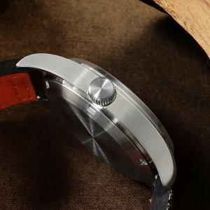 Image 4 - San Martin Pilot moda prosty zegarek biznes biała tarcza automatyczne zegarki mechaniczne dla mężczyzn skóra 200m wodoodporny Luminous